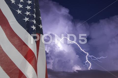 Stock photo of telephoto image of a lightning strike during a night storm