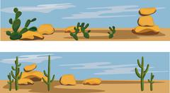 cactus and desert - stock illustration