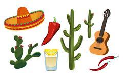 mexican symbols - stock illustration