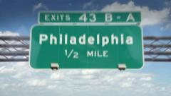 A Highway/Interstate sign going into the city of Philadelphia, Pennsylvania Stock Footage
