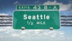 A Highway/Interstate sign going into the city of Seattle, Washington Stock Footage