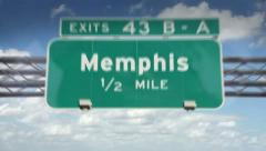 A Highway/Interstate sign going into the city of Memphis, Tennessee Stock Footage