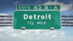 A Highway/Interstate sign going into the city of Detroit, Michigan. Stock Footage