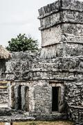 ancient mayan architecture and ruins located in tulum, mexico off the yucatan - stock photo