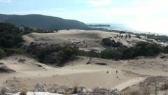 Stony outcrop and seaside dunes tilt Stock Footage