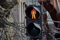 Stock Photo of Traffic light Don't Walk