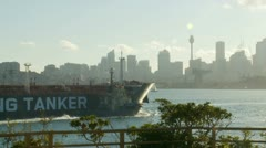 Huge China Shipping Tanker in Sydney sea (2) Stock Footage