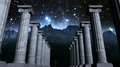 Greek pillars in cosmic scene Stock Footage