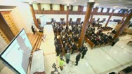 Stock Video Footage of Journalists and churchgoers listen to Chief Rabbi