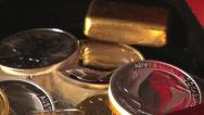 Stock Video Footage of treasure chest box with gold bullion coins