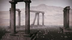 Animation of moving around the remains of an ancient greek temple Stock Footage