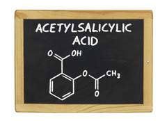 Chemical formula of acetylsalicylic acid on a blackboard Stock Illustration