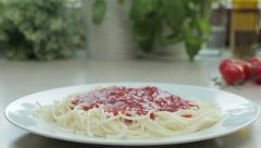 Pasta with tomato sauce, tracking shot HD Stock Footage