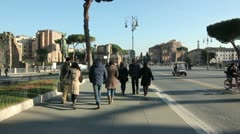 People Walking - Fori Imperiali Stock Footage