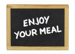 enjoy your meal on a blackboard - stock illustration