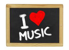 I love music on a blackboard Stock Illustration
