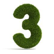 The Number Three in Grass Stock Illustration