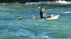 Lifting fishing net Stock Footage