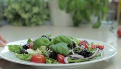Plate with fresh vegetable salad HD Stock Footage