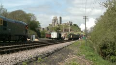 Steam Train Leaving Corfe Castle Staion Stock Footage