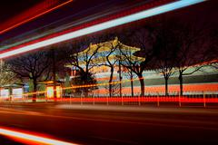 The Forbidden City at night - stock photo