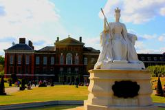 Statue of Victoria in front of Kensington Palace, Hyde Park, London - stock photo