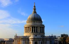 Straight on shot of St Paul's Cathedral, London - stock photo