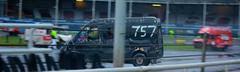 Stock Photo of Banger van spinning out during banger race
