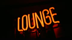 Neon Sign-Lounge-Rack Focus Stock Footage