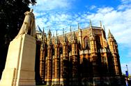 Stock Photo of King George V statue in front of Westminster Abbey