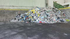 Unsorted Waste at Recycling Plant Stock Footage