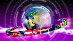 Spinning Earth with Flags - Earth 94 (HD) Stock Footage