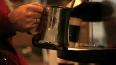 Steam frothing milk at a coffee bar. Stock Footage