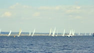 Sailing boats on the sea and blue sky Stock Footage