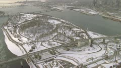 Helicopter shot of Jacques Cartier Bridge in Montreal during winter Stock Footage