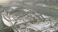 Stock Video Footage of Helicopter shot of Jacques Cartier Bridge in Montreal during winter
