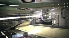 Elegant escalator in a mall Stock Footage