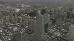 Aerial shot of downtown Montreal during winter Stock Footage
