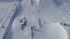 AERIAL: Snowpark panorama Stock Footage