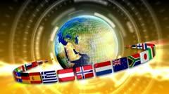 Spinning Earth with Flags - Earth 95 (HD) - stock footage