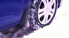 Winter Driving - Tires Slipping in Deep Snow Stock Footage