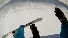 FIRST PERSON VIEW: snowboarder jumps method Stock Footage