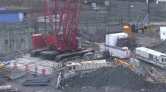 Closeup of a crane Working in Queens, NY Stock Footage