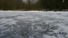 Ice skating over the camera Stock Footage