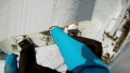 Stock Video Footage of FIRST PERSON VIEW: snowboarder jumps bs360