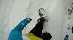 Snowboarding off piste - stock footage