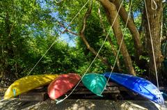 Colorful Kayaks - stock photo