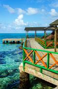 Dock and Tropical Water - stock photo