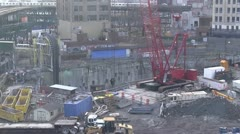 Closeup of crane working in Queens, NY. Stock Footage