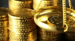 Finance Concept, coins - stock footage